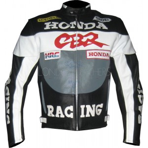 Honda CBR Racing Grey Biker Leather Jacket